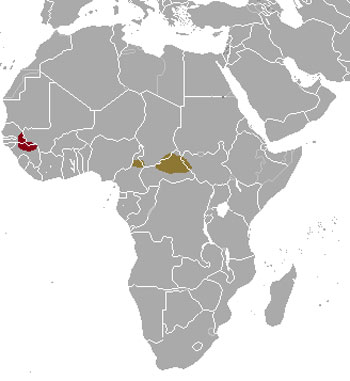 Giant Eland Range Map (Africa)