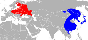 Raccoon Dog Range Map (Europe & Asia)